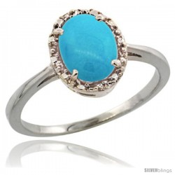 14k White Gold Diamond Halo Turquoise Ring 1.2 ct Oval Stone 8x6 mm, 1/2 in wide