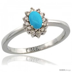 14k White Gold Diamond Halo Turquoise Ring 0.25 ct Oval Stone 5x3 mm, 5/16 in wide