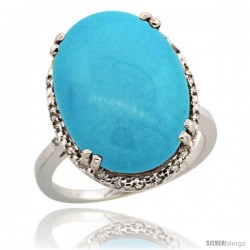 14k White Gold Diamond Halo Large Turquoise Ring 10.3 ct Oval Stone 18x13 mm, 3/4 in wide