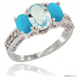 14k White Gold Ladies Oval Natural Aquamarine 3-Stone Ring with Turquoise Sides Diamond Accent