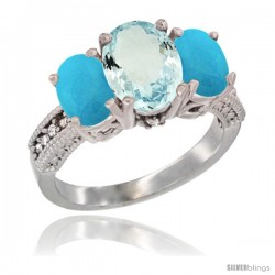 14K White Gold Ladies 3-Stone Oval Natural Aquamarine Ring with Turquoise Sides Diamond Accent