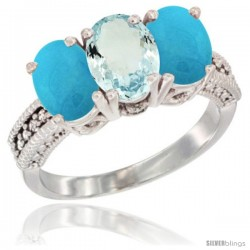 14K White Gold Natural Aquamarine & Turquoise Sides Ring 3-Stone 7x5 mm Oval Diamond Accent