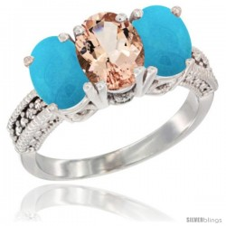 14K White Gold Natural Morganite & Turquoise Sides Ring 3-Stone 7x5 mm Oval Diamond Accent
