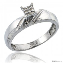 Sterling Silver Diamond Engagement Ring Rhodium finish, 3/16 in wide -Style Ag010er