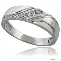 Sterling Silver Men's Diamond Wedding Band Rhodium finish, 1/4 in wide -Style Ag010mb