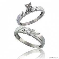 Sterling Silver 2-Piece Diamond wedding Engagement Ring Set for Him & Her Rhodium finish, 4mm & 5mm wide