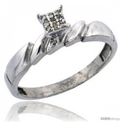 Sterling Silver Diamond Engagement Ring Rhodium finish, 5/32 in wide