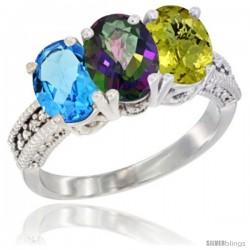 10K White Gold Natural Swiss Blue Topaz, Mystic Topaz & Lemon Quartz Ring 3-Stone Oval 7x5 mm Diamond Accent