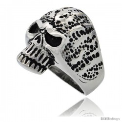 Surgical Steel Biker Ring Rotting Skull 1 in long