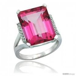 14k White Gold Diamond Pink Topaz Ring 12 ct Emerald Cut 16x12 stone 3/4 in wide