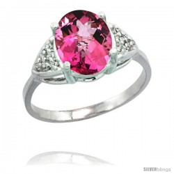 14k White Gold Diamond Pink Topaz Ring 2.40 ct Oval 10x8 Stone 3/8 in wide