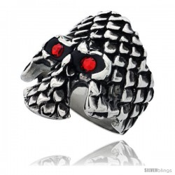 Surgical Steel Biker Ring Gothic Skull with Scaly Armor Red CZ Eyes 1 3/16 in long