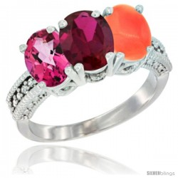 14K White Gold Natural Pink Topaz, Ruby & Coral Ring 3-Stone 7x5 mm Oval Diamond Accent