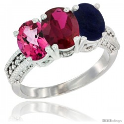 14K White Gold Natural Pink Topaz, Ruby & Lapis Ring 3-Stone 7x5 mm Oval Diamond Accent