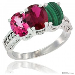 14K White Gold Natural Pink Topaz, Ruby & Malachite Ring 3-Stone 7x5 mm Oval Diamond Accent