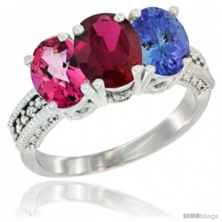 14K White Gold Natural Pink Topaz, Ruby & Tanzanite Ring 3-Stone 7x5 mm Oval Diamond Accent
