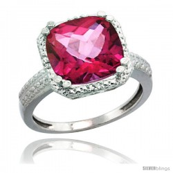 14k White Gold Diamond Pink Topaz Ring 5.94 ct Checkerboard Cushion 11 mm Stone 1/2 in wide