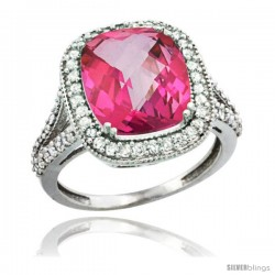 14k White Gold Diamond Halo Pink Topaz Ring Checkerboard Cushion 12x10 4.8 ct 3/4 in wide