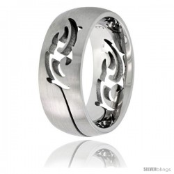 Surgical Steel Domed 9mm Tribal Design Ring Wedding Band Cut-out Matte Finish Comfort-Fit