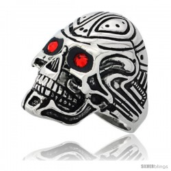 Surgical Steel Biker Ring Cyborg Skull Tribal Tattoos Red CZ Eyes 1 1/8 in