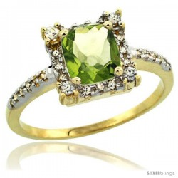 10k Yellow Gold Diamond Halo Peridot Ring 1.2 ct Checkerboard Cut Cushion 6 mm, 11/32 in wide