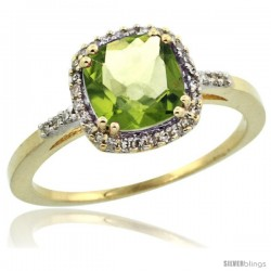 10k Yellow Gold Diamond Peridot Ring 1.5 ct Checkerboard Cut Cushion Shape 7 mm, 3/8 in wide