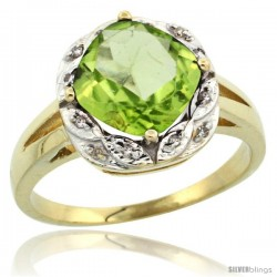 10k Yellow Gold Diamond Halo Peridot Ring 2.7 ct Checkerboard Cut Cushion Shape 8 mm, 1/2 in wide