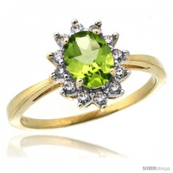 10k Yellow Gold Diamond Halo Peridot Ring 0.85 ct Oval Stone 7x5 mm, 1/2 in wide
