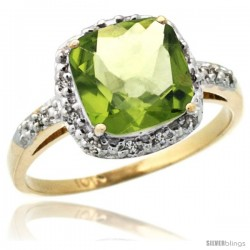 10k Yellow Gold Diamond Peridot Ring 2.08 ct Cushion cut 8 mm Stone 1/2 in wide