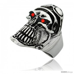 Surgical Steel Biker Skull Ring Helmet Goggles Red CZ Eyes 1 1/4 in long