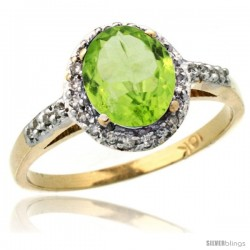 10k Yellow Gold Diamond Peridot Ring Oval Stone 8x6 mm 1.17 ct 3/8 in wide