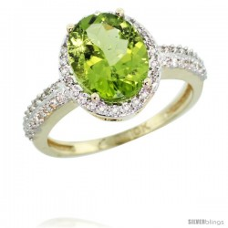 10k Yellow Gold Diamond Peridot Ring Oval Stone 10x8 mm 2.4 ct 1/2 in wide