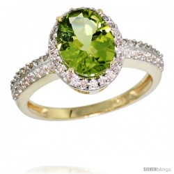 10k Yellow Gold Diamond Peridot Ring Oval Stone 9x7 mm 1.76 ct 1/2 in wide