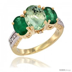 14K Yellow Gold Ladies 3-Stone Oval Natural Green Amethyst Ring with Emerald Sides Diamond Accent