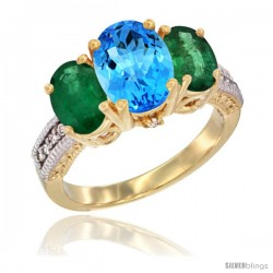 14K Yellow Gold Ladies 3-Stone Oval Natural Swiss Blue Topaz Ring with Emerald Sides Diamond Accent