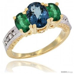 14k Yellow Gold Ladies Oval Natural London Blue Topaz 3-Stone Ring with Emerald Sides Diamond Accent