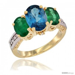 14K Yellow Gold Ladies 3-Stone Oval Natural London Blue Topaz Ring with Emerald Sides Diamond Accent