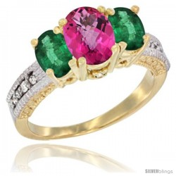 14k Yellow Gold Ladies Oval Natural Pink Topaz 3-Stone Ring with Emerald Sides Diamond Accent