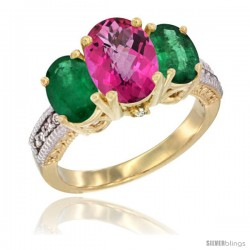 14K Yellow Gold Ladies 3-Stone Oval Natural Pink Topaz Ring with Emerald Sides Diamond Accent