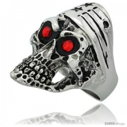 Surgical Steel Biker Ring Bike Skull American Flag Bandana Red CZ Eyes 1 5/16 in long