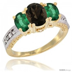 14k Yellow Gold Ladies Oval Natural Smoky Topaz 3-Stone Ring with Emerald Sides Diamond Accent