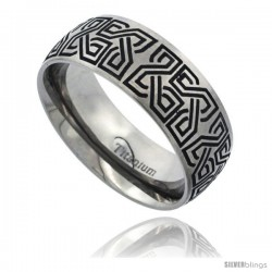 Titanium 8mm Dome Wedding Band Ring Black Laser Etched Celtic Square Knots Pattern Matte Finish Comfort-fit