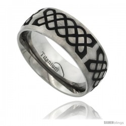 Titanium 8mm Dome Wedding Band Ring Black Laser Etched Celtic Knots Pattern Matte Finish Comfort-fit