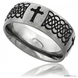 Titanium 8mm Dome Wedding Band Ring Laser Etched Black Passion Cross Celtic Knots Matte Finish Comfort-fit