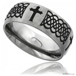 Titanium 8mm Dome Wedding Band Ring Laser Etched Black Passion Cross Celtic Knots Matte Finish Comfort-fit