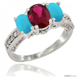 14k White Gold Ladies Oval Natural Ruby 3-Stone Ring with Turquoise Sides Diamond Accent