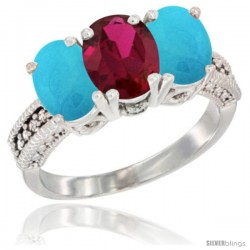 14K White Gold Natural Ruby & Turquoise Sides Ring 3-Stone 7x5 mm Oval Diamond Accent