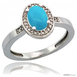 14k White Gold Diamond Sleeping Beauty Turquoise Ring 1 ct 7x5 Stone 1/2 in wide
