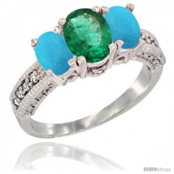 14k White Gold Ladies Oval Natural Emerald 3-Stone Ring with Turquoise Sides Diamond Accent