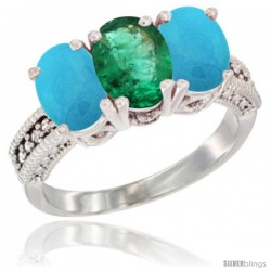14K White Gold Natural Emerald & Turquoise Sides Ring 3-Stone 7x5 mm Oval Diamond Accent